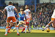 Portsmouth Forward, Conor Chaplin (19) with a shot at goal during the EFL Sky Bet League 1 match between Portsmouth and Blackpool at Fratton Park, Portsmouth, England on 24 February 2018. Picture by Adam Rivers.