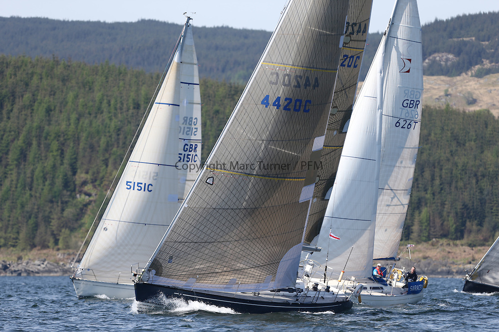 The Clyde Cruising Club's Scottish Series held on Loch Fyne by Tarbert. Day 2 racing in a perfect southerly<br /> <br /> CYCA Fleet 8,  Start,  626T, Saracen, Ann McLaughlin, Cushendall S&amp;BC / CCC, Sigma 36, 4420C , Xanadu , Andy Knowles , CCC, Elan Impression, X442