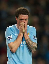 MANCHESTER, ENGLAND - Sunday, February 13, 2010: Manchester City Wayne Bridge during the FA Cup 5th Round match against Stoke City at the City of Manchester Stadium. (Photo by David Rawcliffe/Propaganda)  MANCHESTER, ENGLAND - Sunday, February 13, 2010: Manchester City xxxx and Stoke City's xxxx during the FA Cup 5th Round match at the City of Manchester Stadium. (Photo by David Rawcliffe/Propaganda)