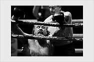 Robert Helenius after a surprise knockout blow from Johann Duhaupas at a world title fight. WBC. Helsinki, April 2, 2016.