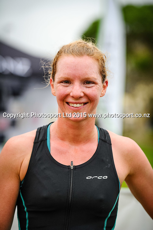 Rebecca Elliot winner of the Sovereign Tri Series, Waterfront, Wellington, New Zealand. Saturday 14 March 2015. Copyright Photo: Mark Tantrum/www.Photosport.co.nz