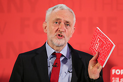 © Licensed to London News Pictures. 02/06/2017. York UK. Labour Party leader JEREMY CORBYN delivers a speech at York Science Park, outlining the party's strategy to deliver jobs and strengthen the economy. Photo credit: Andrew McCaren/LNP