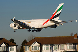 ©London News Pictures. Emirates Airbus A380 at London Heathrow Airport. Photo credit should read Ian Schofield/London News Pictures