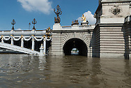 Paris . Flooding . The Seine river  and Alexandre III bridge