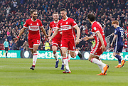 Goal celebration by Daniel Ayala of Middlesbrough  during the EFL Sky Bet Championship match between Middlesbrough and Nottingham Forest at the Riverside Stadium, Middlesbrough, England on 7 April 2018. Picture by Paul Thompson.