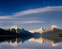 Clouds over calm waters of Lake McDonald Glaier National Park Montana USA