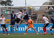 Forfar's Thomas O'Brien heads home his side's third goal during Forfar's 3-0 win over Clyde in SPFL League Two  at Station Park, Forfar, Photo: David Young<br /> <br />  - &copy; David Young - www.davidyoungphoto.co.uk - email: davidyoungphoto@gmail.com