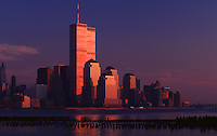 sun setting on Lower Manhattan and the World Trade Center - photograph by Owen Franken