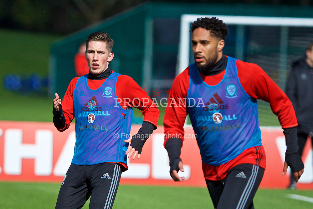 CARDIFF, WALES - Tuesday, March 21, 2017: Wales' Harry Wilson (Liverpool) and captain Ashley Williams (Everton) during a training session at the Vale Resort ahead of the 2018 FIFA World Cup Qualifying Group D match against Republic of Ireland. (Pic by David Rawcliffe/Propaganda)