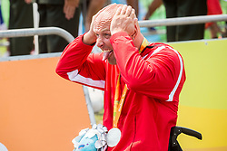 Second placed Walter Ablinger of Austria celebrates  during Victory ceremony after the Men's Time Trial H3 Cycling Road competition during Day 7 of the Rio 2016 Summer Paralympics Games on September 14, 2016 in Olympic Aquatics Stadium, Rio de Janeiro, Brazil. Photo by Vid Ponikvar / Sportida