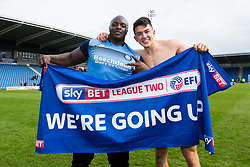 Free to use courtesy of Sky Bet - Adebayo Akinfenwa of Wycombe Wanderers and Luke O'Nien of Wycombe Wanderers celebrate winning promotion to Sky Bet League One - Mandatory by-line: Robbie Stephenson/JMP - 28/04/2018 - FOOTBALL - Proact Stadium - Chesterfield, England - Chesterfield v Wycombe Wanderers - Sky Bet League Two