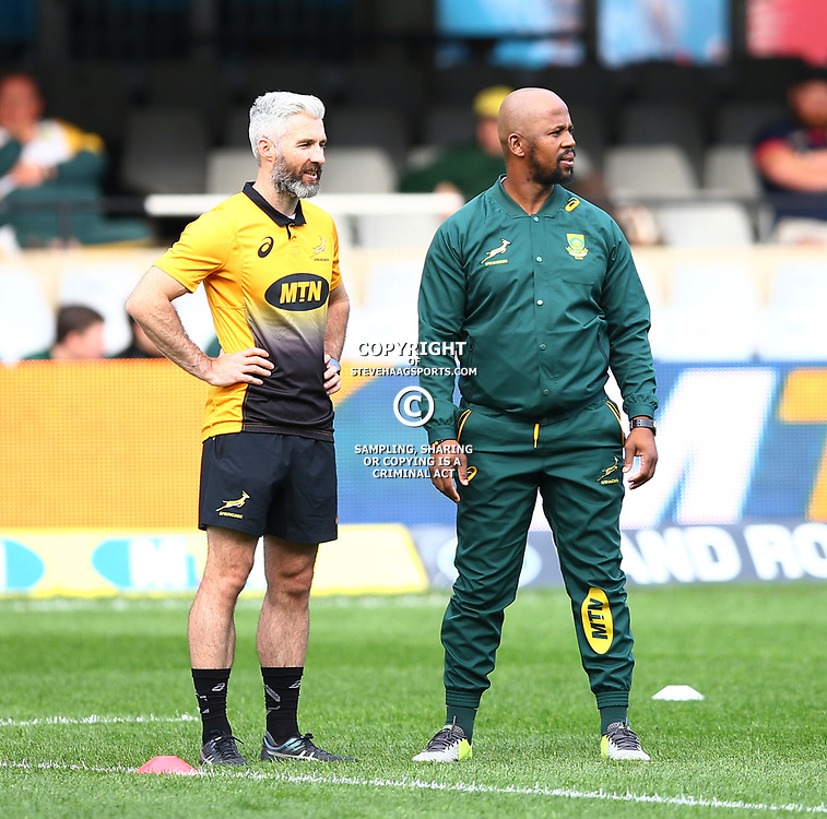 DURBAN, SOUTH AFRICA - AUGUST 18: Aled Walters of South Africa with Mzwandile Stick (Backs Coach) of South Africa during the Rugby Championship match between South Africa and Argentina at Jonsson Kings Park on August 18, 2018 in Durban, South Africa. (Photo by Steve Haag/Gallo Images)