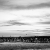 Orange County pier San Clemente CA black and white panoramic photo. San Clemente is a beach city along the Pacific Ocean in the Western USA. Panoramc photo ratio is 1:3. Copyright ⓒ 2017 Paul Velgos with All Rights Reserved.
