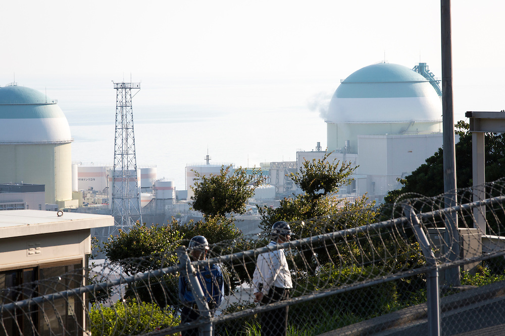 EHIME, JAPAN - AUGUST 12 :  No.3 reactor (R) of Ikata Nuclear Power Plant is seen during the protest against the restarting of a nuclear reactor on August 12, 2016 in Ikata, Ehime prefecture, northwestern Shikoku, Japan. The Shikoku Electric Power Company restarted the plant's No.3 reactor at around 9 AM on Friday. It is the third plant to go online under new regulations issued after the Fukushima Daiichi nuclear disaster. (Photo by Richard Atrero de Guzman/NURPhoto)