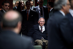 Wolfgang Schauble, German Federal Minister of Finance arrives for during an emergency Eurogroup finance ministers meeting at the European Council in Brussels, Belgium on 20.02.2015 Eurogroup head Jeroen Dijsselbloem was working overtime on February 20 to save a make-or-break meeting on Greece's demand to ease its bailout programme as Germany insisted it stick with its austerity commitments after days of sharp exchanges, the 19 eurozone finance ministers gathered for the third time in little over a week to consider Athens' take-it or leave-it proposal to extend an EU loan programme which expires this month. by Wiktor Dabkowski. EXPA Pictures © 2015, PhotoCredit: EXPA/ Photoshot/ Wiktor Dabkowski<br /> <br /> *****ATTENTION - for AUT, SLO, CRO, SRB, BIH, MAZ only*****