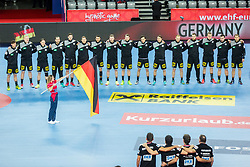 Team Germany during handball match between National teams of Germany and Montenegro on Day 2 in Preliminary Round of Men's EHF EURO 2018, on January 13, 2018 in Arena Zagreb, Zagreb, Croatia. Photo by Ziga Zupan / Sportida