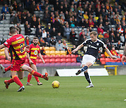 Dundee&rsquo;s Greg Stewart shot is blocked - Partick Thistle v Dundee, Ladbrokes Premiership at Firhill<br /> <br /> <br />  - &copy; David Young - www.davidyoungphoto.co.uk - email: davidyoungphoto@gmail.com