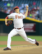 May 14, 2013; Phoenix, AZ, USA; Arizona Diamondbacks pitcher Patrick Corbin (46) pitches during the game against the Atlanta Braves in the first inning at Chase Field. Mandatory Credit: Jennifer Stewart-USA TODAY Sports