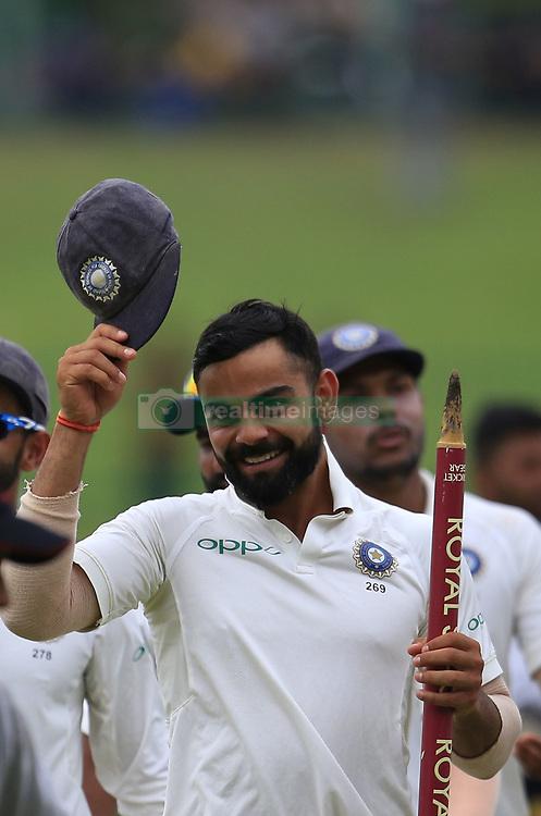 August 14, 2017 - Colombo, Sri Lanka - Indian captain Virat Kohli walks back to pavilion after winning the Test series 3-0 after the 3rd Day's play in the 3rd and final Test match between Sri Lanka and India at the Pallekele international cricket stadium at Kandy, Sri Lanka on MOnday 14 August 2017. (Credit Image: © Tharaka Basnayaka/NurPhoto via ZUMA Press)