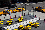 New York . meat packing district, elevated view of  yellow cabs parking lot- United states   / taxi jaunes dans le meat packing district , le quartier a la mode .  New york - Etats unis   /