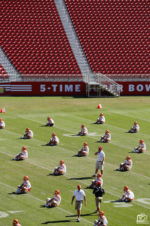 Oakdale stretches before facing Manteca during Friday Night Lights at Levi's Stadium in Santa Clara, California, on October 11, 2014. (Stan Olszewski/ Special to The Record)