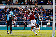 Emile Sinclair of Northampton Town celebrates the opening goal during the Sky Bet League 2 match at Adams Park, High Wycombe<br /> Picture by David Horn/Focus Images Ltd +44 7545 970036<br /> 18/04/2014