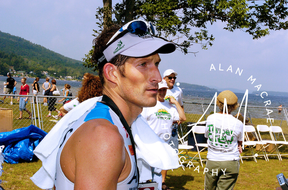 Elite tri-athlete Marcel Vifian of Park City, Utah, talks with reporters after completing the Timberman Triathlon on Sunday.  (Alan MacRae/for the Citizen)