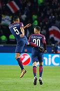 Layvin Kurzawa (psg) scored a new goal, celebration with Marcos Aoas Correa dit Marquinhos (PSG) during the UEFA Champions League, Group B, football match between Paris Saint-Germain and RSC Anderlecht on October 31, 2017 at Parc des Princes stadium in Paris, France - Photo Stephane Allaman / ProSportsImages / DPPI