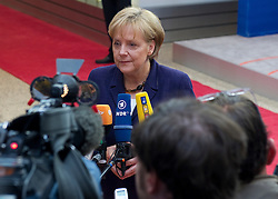 Angela Merkel, Germany's chancellor, makes a statement to the press following the euro-zone summit in Brussels, Belgium, on Friday, May 7, 2010. (Photo © Jock)