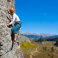 Sport climbing around 9500ft. in Colorado.  The fall colors are spectacular.