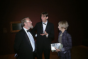 Peyton Skipwith, Matthew Sturgiss and Anne Skipwith. Dinner at the opneing of Degas, Sickert and Toulouse-Lautrec. Tate Britain. Pimlico, London.  London. 3 October 2005. . ONE TIME USE ONLY - DO NOT ARCHIVE © Copyright Photograph by Dafydd Jones 66 Stockwell Park Rd. London SW9 0DA Tel 020 7733 0108 www.dafjones.com