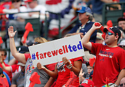 ATLANTA, GA - OCTOBER 2:  Fans acknowledge the last game at Turner Field with a sign during the game between the Detroit Tigers and the Atlanta Braves on Sunday, October 2, 2016 in Atlanta, Georgia. (Photo by Mike Zarrilli/MLB Photos via Getty Images) *** Local Caption ***