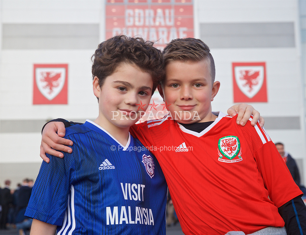 CARDIFF, WALES - Sunday, October 13, 2019: Wales supporters outside the stadium before the UEFA Euro 2020 Qualifying Group E match between Wales and Croatia at the Cardiff City Stadium. (Pic by Laura Malkin/Propaganda)