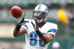 Dec 18, 2011; Oakland, CA, USA; Detroit Lions wide receiver Maurice Stovall (80) warms up before the game against the Oakland Raiders at O.co Coliseum. Mandatory Credit: Jason O. Watson-US PRESSWIRE