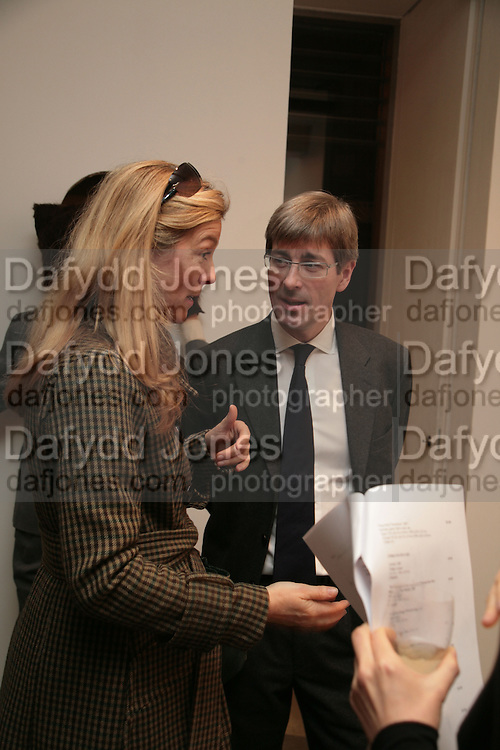 Marie Christine de Laubarede and Timothy Taylor, Moving Picture. Exhibition of work by Marcel Dzama. Timothy Taylor Gallery.  Dering St. London. 7 March 2007.  -DO NOT ARCHIVE-© Copyright Photograph by Dafydd Jones. 248 Clapham Rd. London SW9 0PZ. Tel 0207 820 0771. www.dafjones.com.
