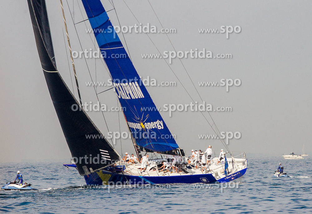 Winning sailboat Esimit Europa 2 during the North Adriatic regatta Barcolana 2014, on October 12, 2014 in Gulf of Trieste, Italy. Photo by Vid Ponikvar / Sportida.com
