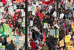 "© Licensed to London News Pictures . 20/10/2012 . London , UK . The main march along Blackfriars . The TUC march in London against austerity and cuts , under the banner "" March for a future that works "" . Photo credit : Joel Goodman/LNP"