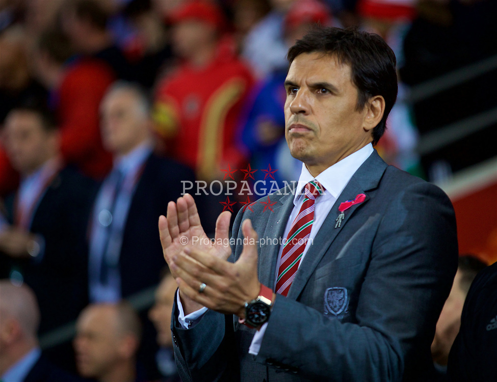 CARDIFF, WALES - Monday, October 9, 2017: Wales' manager Chris Coleman before the 2018 FIFA World Cup Qualifying Group D match between Wales and Republic of Ireland at the Cardiff City Stadium. (Pic by David Rawcliffe/Propaganda)