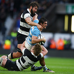 LONDON, ENGLAND - DECEMBER 01: Lood de Jager (Bulls & South Africa) of the Barbarians and Pieter-Steph du Toit (Stormers & South Africa) of the Barbarians tackling Pablo Matera of Argentina during the Killik Cup match between Barbarians and Argentina at Twickenham Stadium on December 01, 2018 in London, England. (Photo by Steve Haag/Gallo Images)
