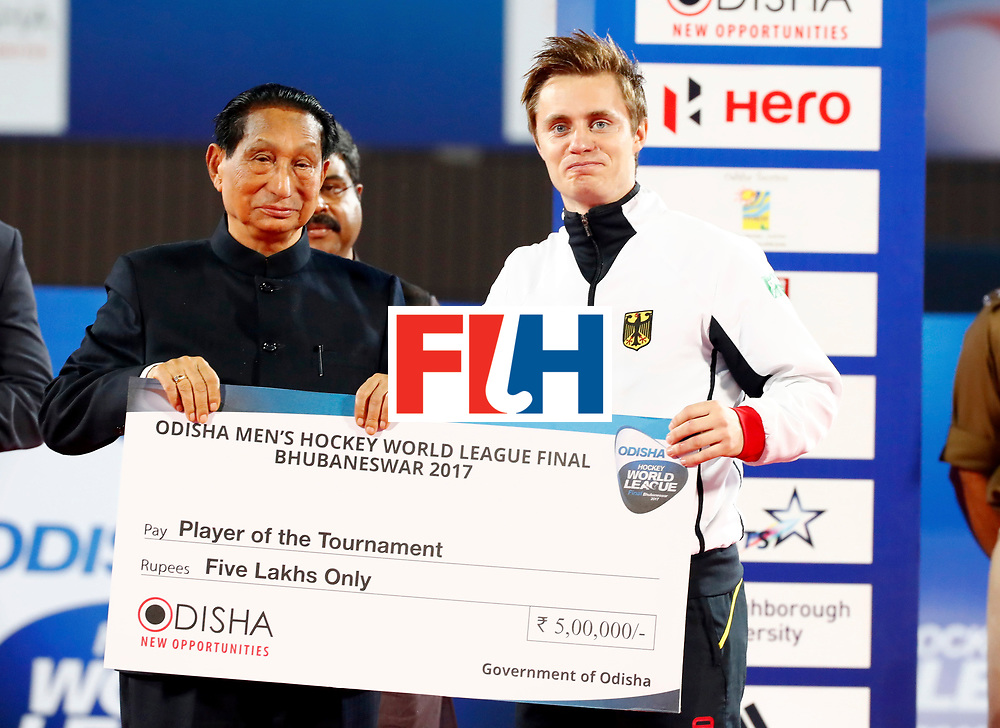 Odisha Men's Hockey World League Final Bhubaneswar 2017<br /> Match id:<br /> Ceremony<br /> Foto: Mats Grambusch is Player of the Tournament<br /> WORLDSPORTPICS COPYRIGHT KOEN SUYK