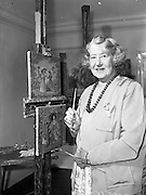 11/10/1959<br /> 10/11/1959<br /> 11 October 1959<br /> Beatrice Moss Campbell (Elvery), Lady Glenavy at her home at RockBrook House, Rathfarnham, Dublin. Lady Glenavy was  a well known stained-glass artist and painter and friend of William Orpen. Here she is pictured in her studio at her home.