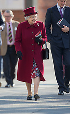 APR 11 2014 The Queens attends Newbury races
