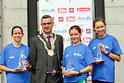 No fee for Repro: Dun Laoghaire-Rathdown County Council, Cathaoirleach Cllr Tom Joyce, pictured with (from left) Barbara Cleary lady's winner at the DLR Bay 10K road race in a time of 35 minutes and 52 seconds with Fiona Roach second place lady in a time of 36.07 minutes and Caroline Crowley, third place lady. Pic Jason Clarke Photography