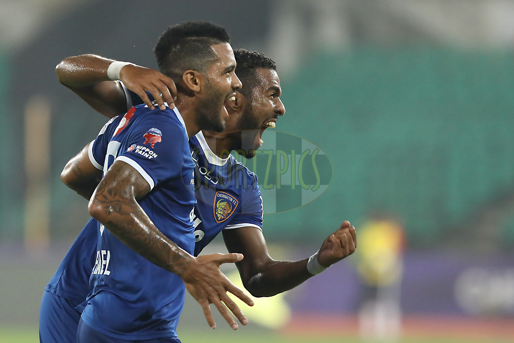 Raphael Augusto of Chennaiyin FC  hit for goal during match 6 of the Hero Indian Super League between Chennaiyin FC and NorthEast United FC held at the Jawaharlal Nehru Stadium, Chennai India on the 23rd November 2017<br /> <br /> Photo by: Arjun Singh  / ISL / SPORTZPICS