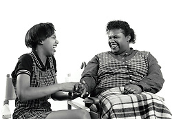 Disabled woman with her daughter UK 1990s MR