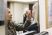 PROVIDENCE, RI - FEB 13: Nicole Le Duc Dawson does Caroline Silva's makeup backstage prior to the Stetkewicz show as part of StyleWeek NorthEast on February 13, 2015 in Providence, Rhode Island. (Photo by Cat Laine)