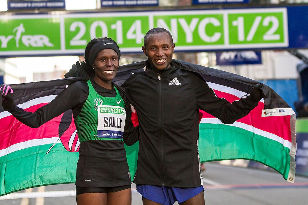NYRR New York City Half Marathon: Sally Kipyego and Geoffrey Mutai Kenya, winners