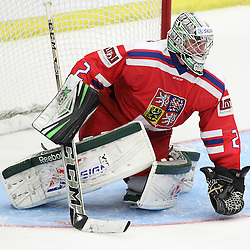 COBOURG, - Dec 14, 2015 -  Game #3 - United States vs Czech Republic at the 2015 World Junior A Challenge at the Cobourg Community Centre, ON. Dominik Groh #2 of Team Czech Republic covers the puck during the third period. (Photo: Tim Bates / OJHL Images)