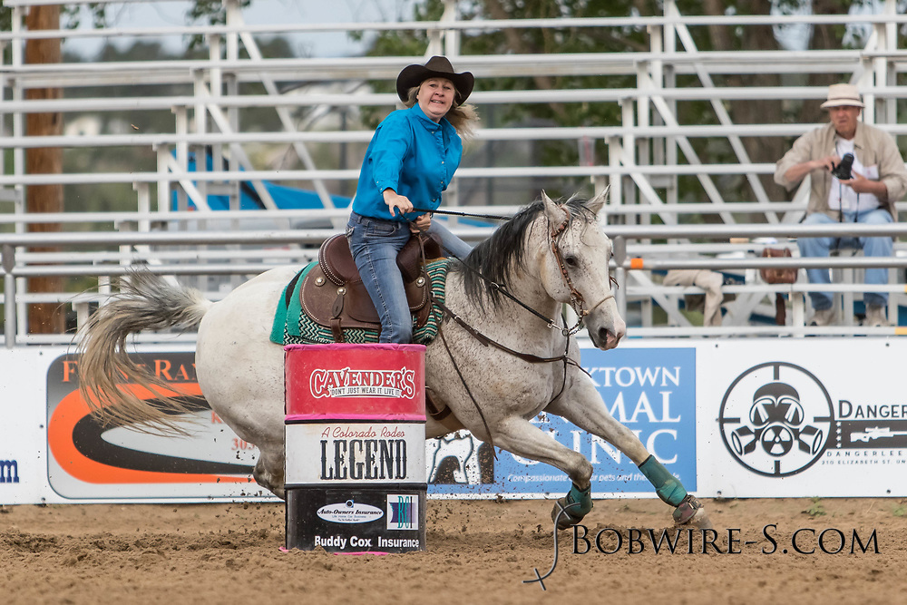 Raedene Ashley makes her barrel racing run during slack at the Elizabeth Stampede on Sunday, June 3, 2018.