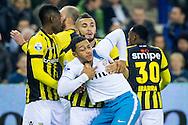 ARNHEM, Vitesse - PSV, voetbal Eredivisie seizoen 2014-2015, 17-01-2015, Stadion de Gelredome, Vitesse speler Zakaria Labyad (2R) haalt PSV speler Memphis Depay (M) uit het opstootje, Vitesse speler Kelvin Leerdam (L).